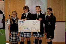Bedford Academy students Brooke Hamilton, Olivia Mason, Morgan Pugh-Toole and Ria Kapur get ready to present our donation to the IWK.